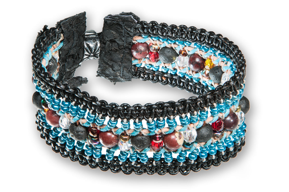 Braided Leather bracelet with lava beads,crystal, stones, glass beads and fishleathermade by Tales of travel