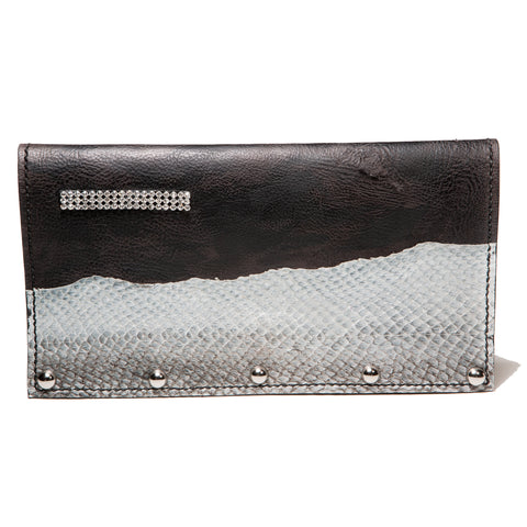 ! Sold ! - Black studded evening leather clutch with salmon fishleather decoration