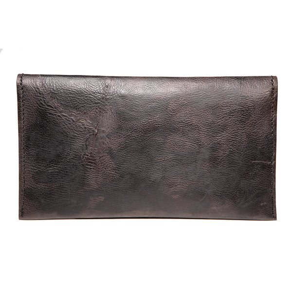! Sold ! - Black studded evening leather clutch with salmon fishleather decoration, Clutch, Good Old Company - Hraun- Art and design
