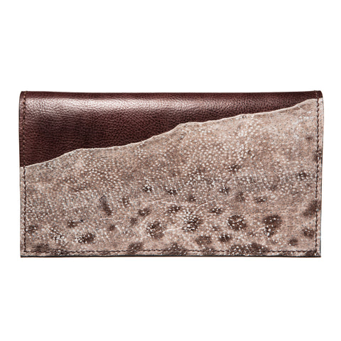 Sold - Brown evening leather clutch with wolffish fishleather