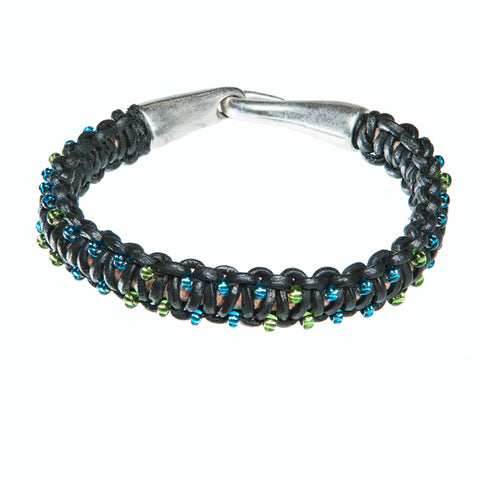 Black leather bracelet with blue and green czech crystal