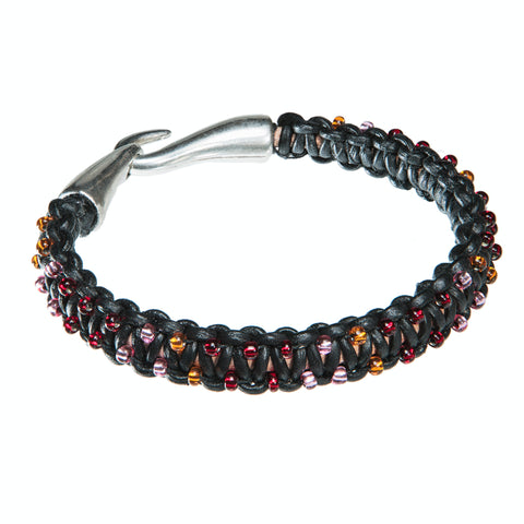 Black leather bracelet with red, orange and pink Czech crystal