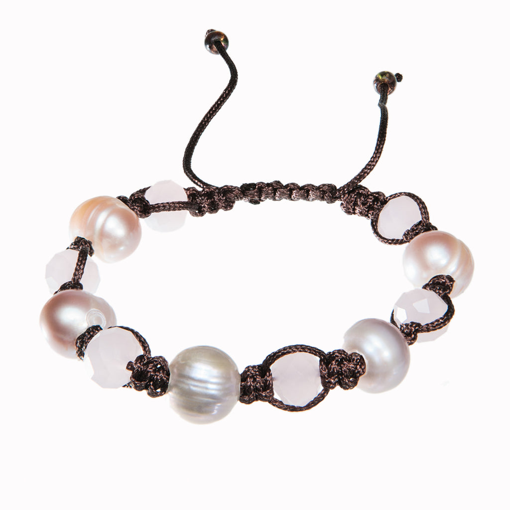 Brown braided bracelet with fresh water pearls and white crystal, Bracelet, Tales of Travel - Hraun- Art and design