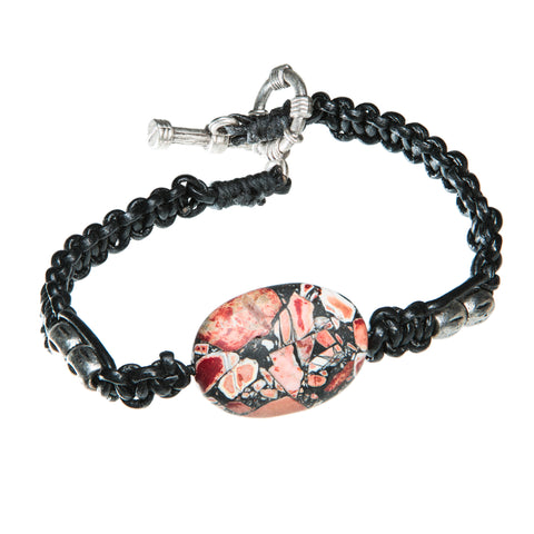 Black leather bracelet with red and black sea sediment jasper