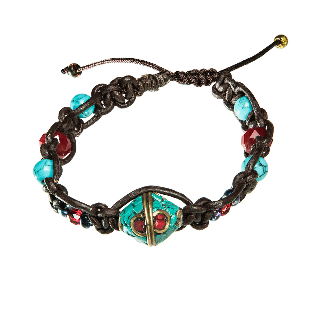 Brown leather bracelet with turkish and red charm and beads, Bracelet, Tales of Travel - Hraun- Art and design