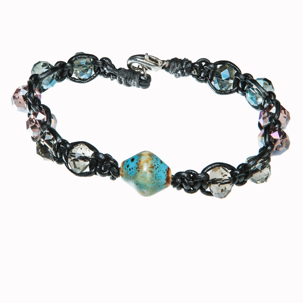 Black leather bracelet with ceramic charm and blue and pink crystal, Bracelet, Tales of Travel - Hraun- Art and design