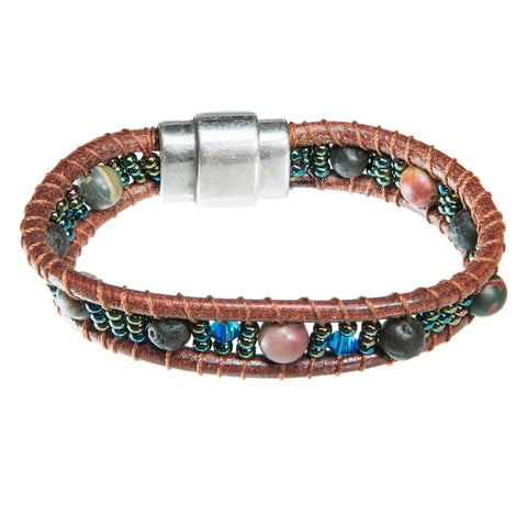 Brown leather bracelet with lava beads and blue crystal
