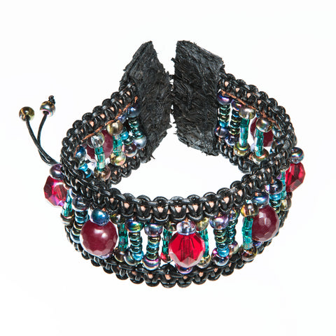 Black leather bracelet whith large red crystal, colorful beads and fish leather