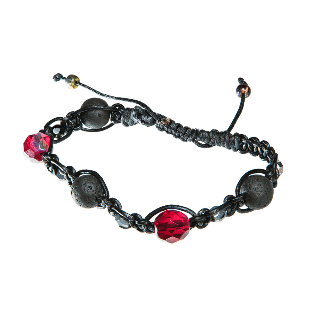 Black leather bracelet with large red crystal and lava beads, Bracelet, Tales of Travel - Hraun- Art and design