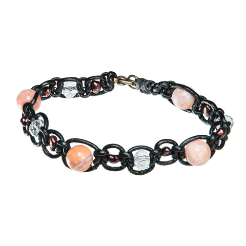 Black leather bracelet with beads, crystal and red sea shell