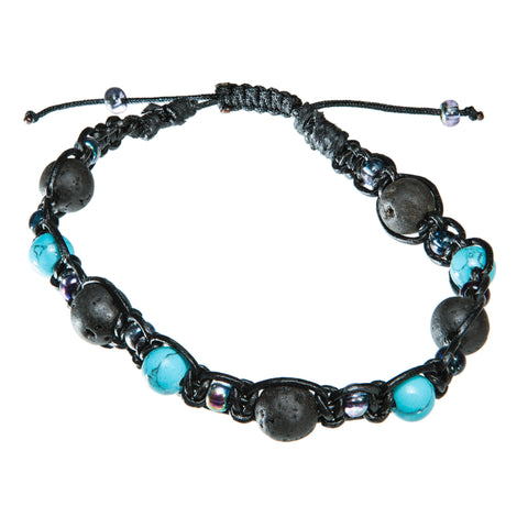 Black leather bracelet with turkish blue beads and lava stone