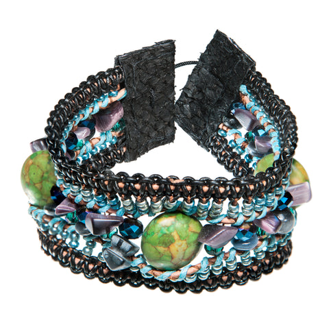Black and turkish bracelet with grean sea sediment stone and fish leather