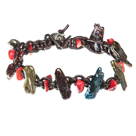 Brown leather bracelet with colorful sea shells and red coral beads