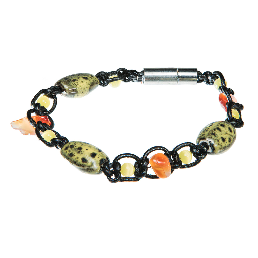 Black leather bracelet with yellow ceramic beads and pearls, Bracelet, Tales of Travel - Hraun- Art and design