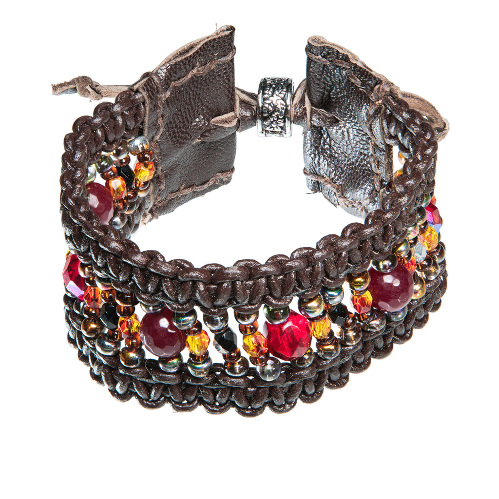 Wide brown leather bracelet with red and yellow glass beads, Bracelet, Tales of Travel - Hraun- Art and design