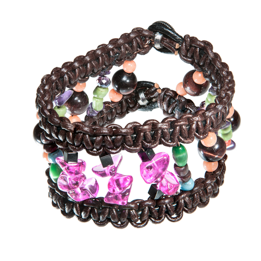 Wide brown leather bracelet with pink glass beads, Bracelet, Tales of Travel - Hraun- Art and design