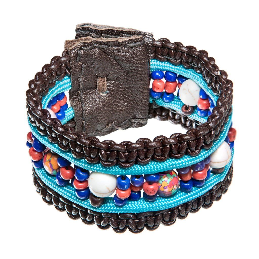 Brown leather bracelet with paracord and beads, Bracelet, Tales of Travel - Hraun- Art and design