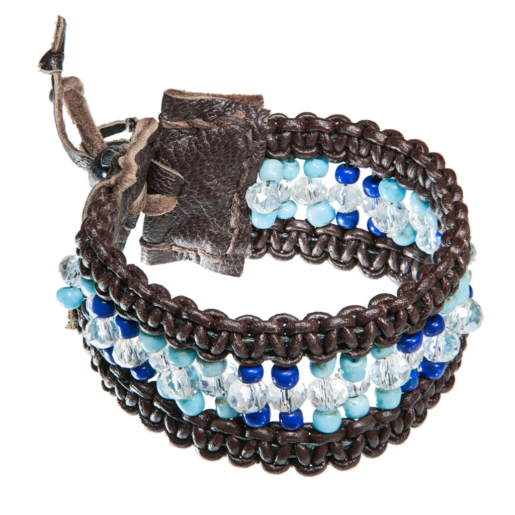 Brown wide leather bracelet with turkish and blue beads, Bracelet, Tales of Travel - Hraun- Art and design