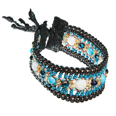Black leather bracelet with blue beads, crystal and fish leather