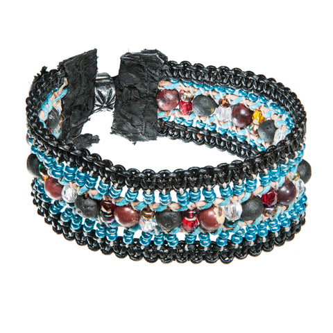 Black leather bracelet with lava stone, crystal  and fish leather