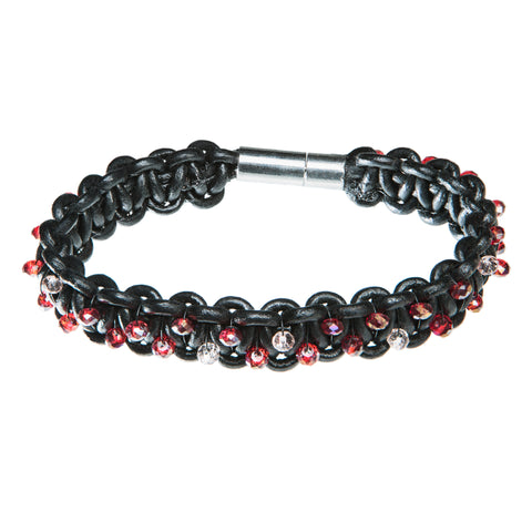 Black leather bracelet with red and clear Swarovski crystal