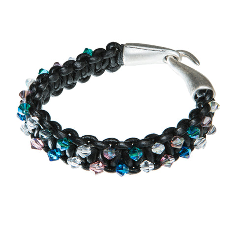 Black leather bracelet with blue pink and clear Swarovski crystal