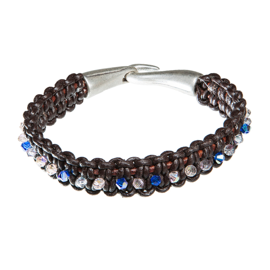 Brown leather bracelet with blue and clear swarovski crystal, Bracelet, Tales of Travel - Hraun- Art and design