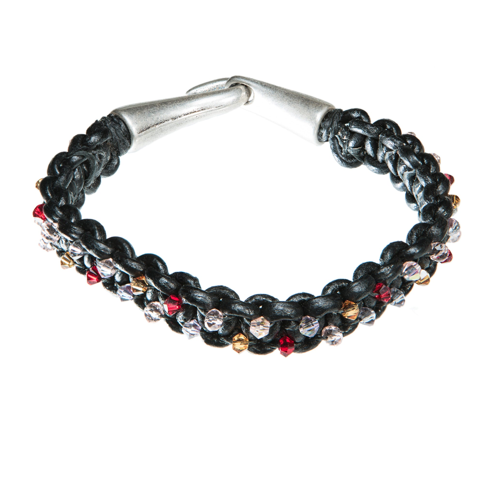 5a95be44b980 Black leather bracelet with red