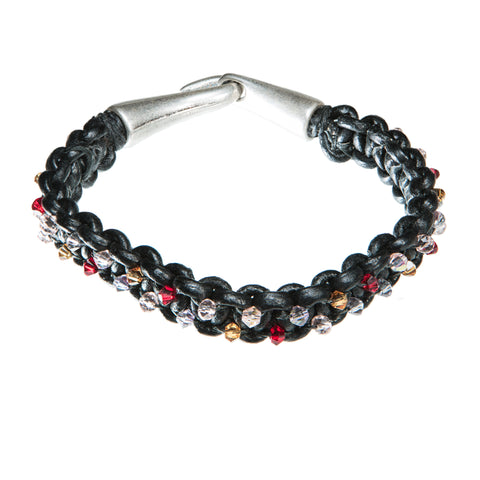 Black leather bracelet with red, yellow and clear Swarovski crystal
