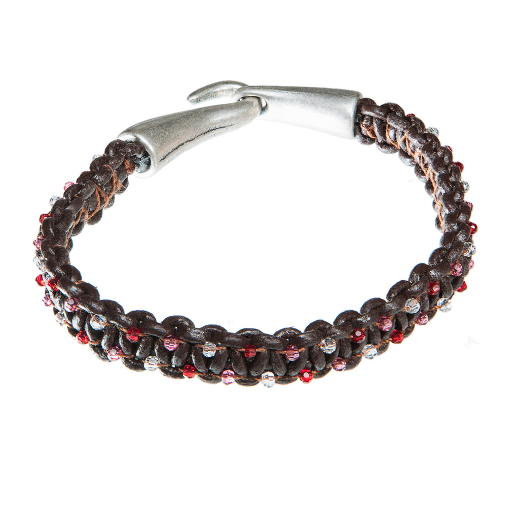 Brown leather bracelet with red, pink and clear Swarovski crystal, Bracelet, Tales of Travel - Hraun- Art and design