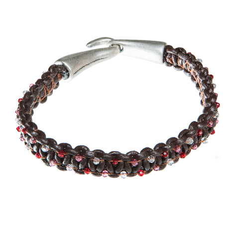 Brown leather bracelet with red, pink and clear Swarovski crystal