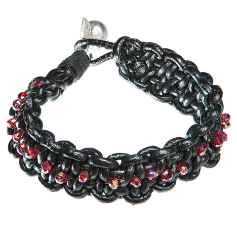 Brown leather bracelet with red Swarovski crystal