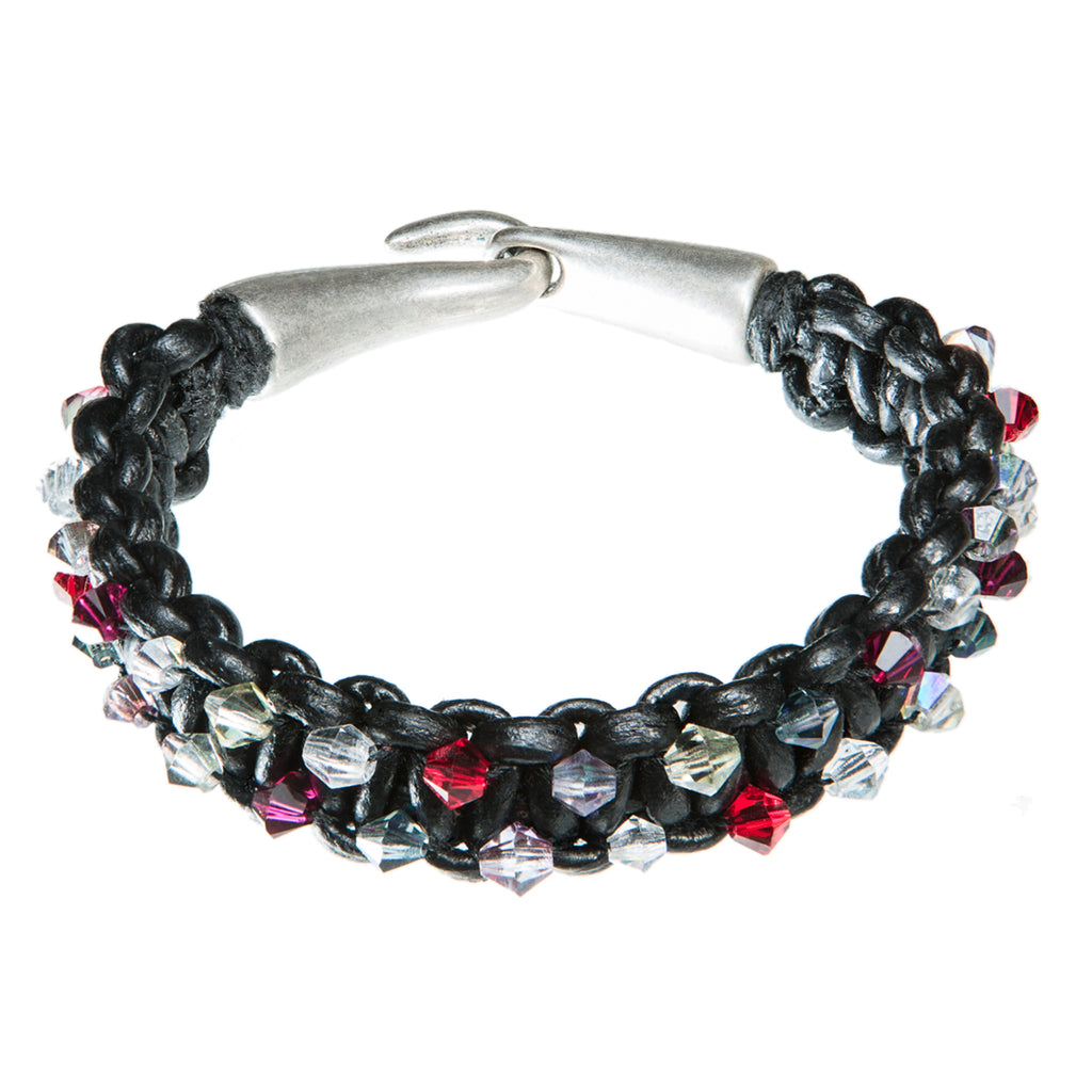 Black leather bracelet with Red, purple and clear Swarovski crystal, Bracelet, Tales of Travel - Hraun- Art and design