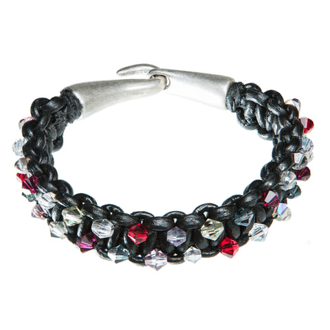 Black leather bracelet with Red, purple and clear Swarovski crystal