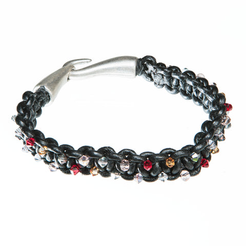 Black leather bracelet with Red, orange and clear Swarovski crystal