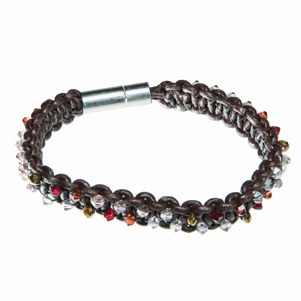 Brown leather bracelet with red, orange and gold Swarovski crystal