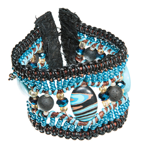 ! Sold !   - Black wide leather bracelet with lava stone and blue sea sediment stone