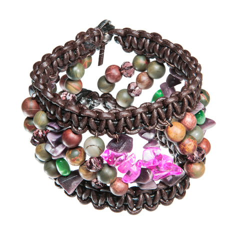 Brown leather bracelet with pink glass beads
