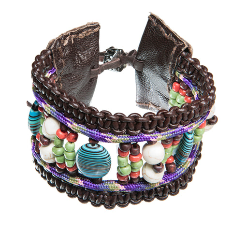 Brown leather bracelet with pink paracord and sea sediment stone
