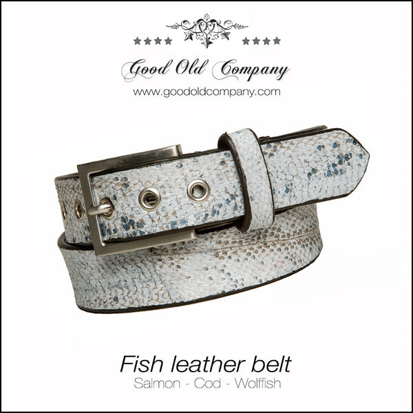 Cod fish leather belt 35 mm, Leather belt, Good Old Company - Hraun- Art and design