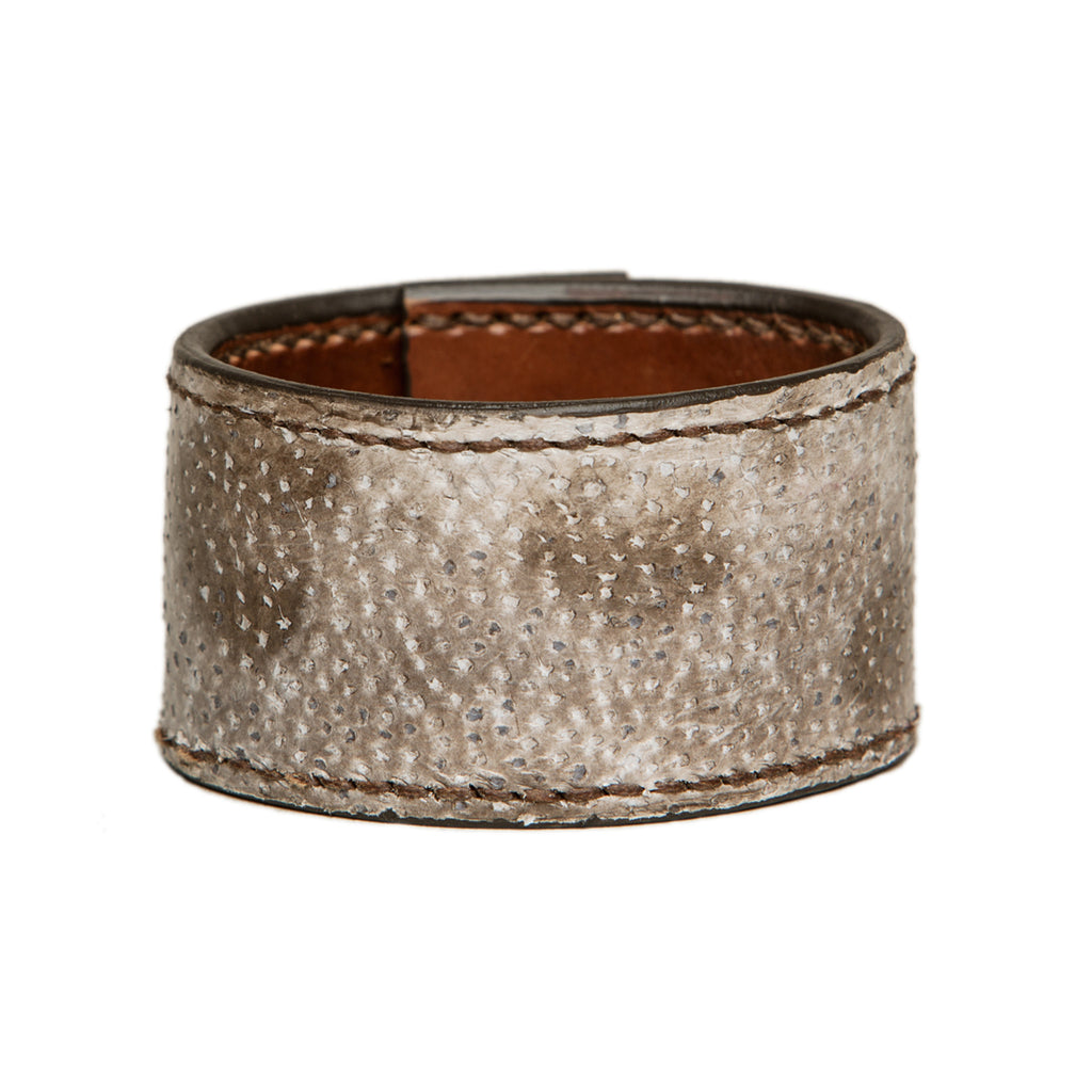 Stitched wolffish leather cuff, Bracelet, Good Old Company - Hraun- Art and design