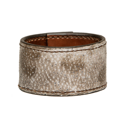 Stitched wolffish leather cuff