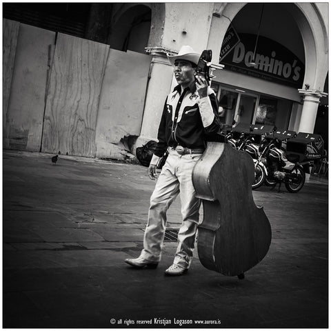 Walking mariachi bass in Veracruz Mexico