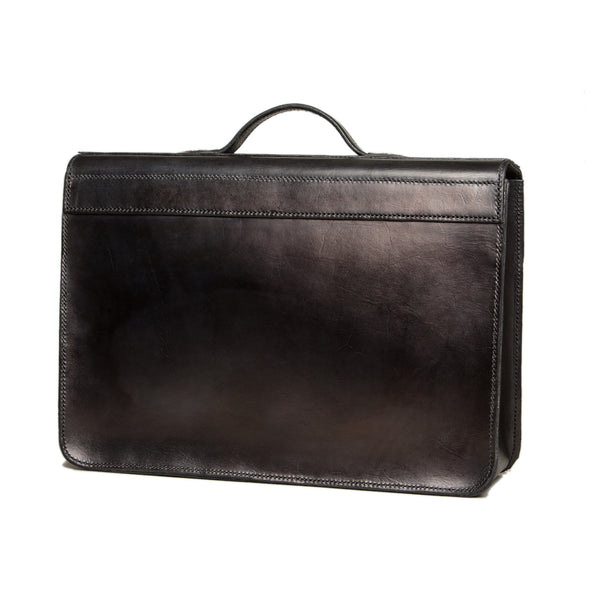 !Sold! - Big black leather briefcase with wolffish decoration, Bags, Good Old Company - Hraun- Art and design