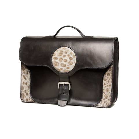 !Sold! - Big black leather briefcase with wolffish decoration