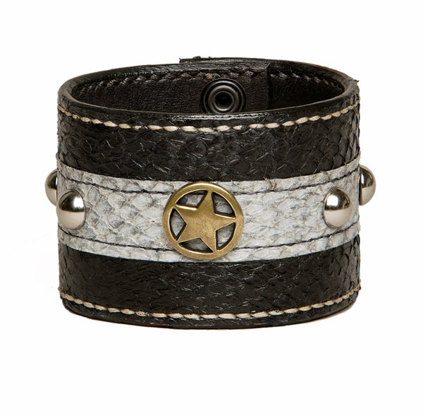 Black salmon fishleather cuff with studs and star, Bracelet, Good Old Company - Hraun- Art and design