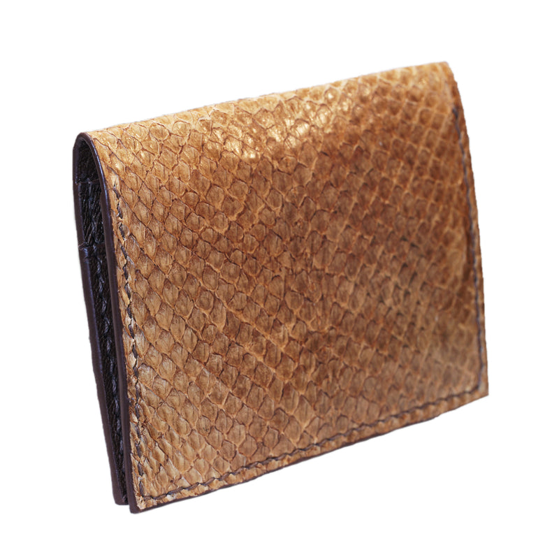 Brown salmon bifold fish leather card wallet