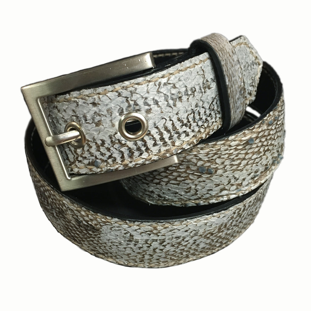 Hand stitched Cod fish leather belt 35 mm