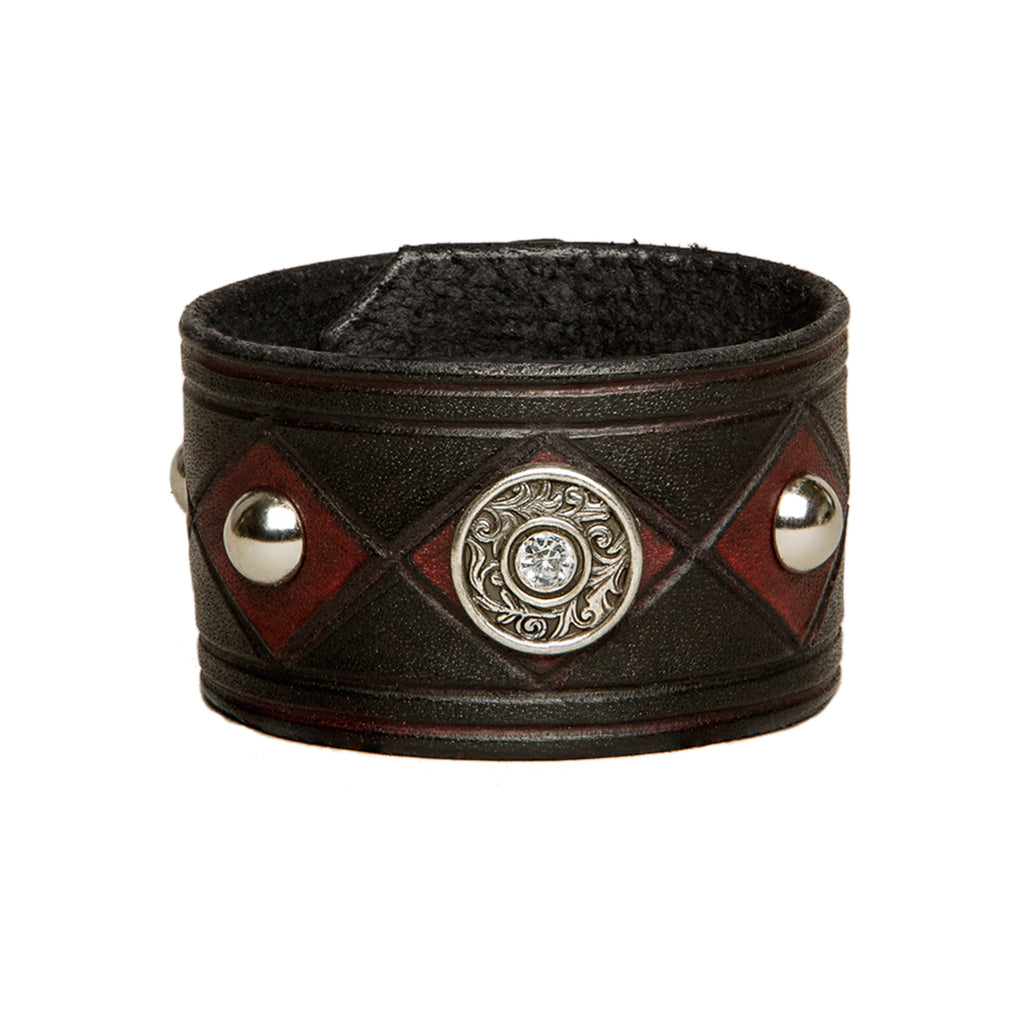 The concho joker - hand colored black and red leather cuff with studs and concho, Bracelet, Good Old Company - Hraun- Art and design