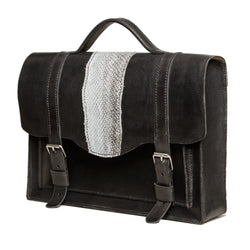 Medium size black briefcase with salmon fishleather decoration, Bags, Good Old Company - Hraun- Art and design
